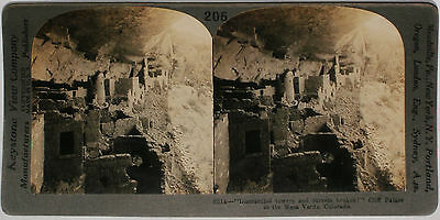Keystone Stereoview CLIFF PALACE, Mesa Verde, Colorado from 1910's Education Set