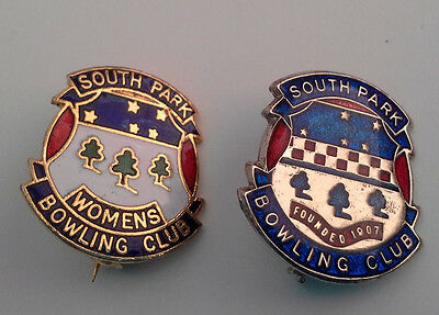 South Park Bowling Club and Women's Bowls Club SA pin badges; club founded 1907