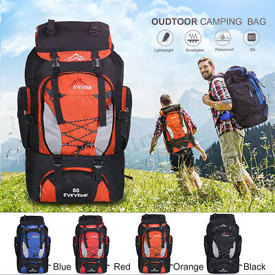 45-80L Waterproof Rucksack Backpack Luggage Bag Camping Hiking Travel Outdoor