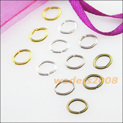 New Gold Dull Silver Bronze Plated Connectors 5x7mm 7x9mm Oval Jump Open Rings