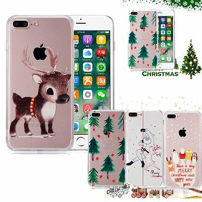 Christmas Case Xmas Gift  Santa Reindeer Tree Cover For iPhone 6 & 6S 7 8 plus