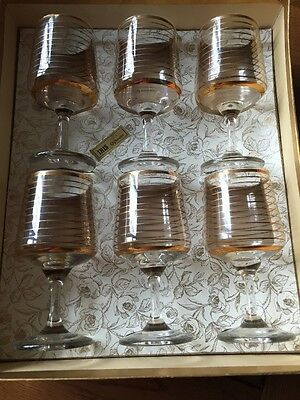 Boxed Set 6 Vintage 1950's/60's Gold Decorated Wine Glasses Iris Giftware