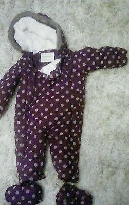 M&S purple baby girls 9-12 months All In One jacket onesie snowsuit with booties