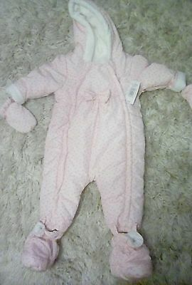 Matalan baby girls 9-12 months All In One jacket onesie snowsuit with mitts pink