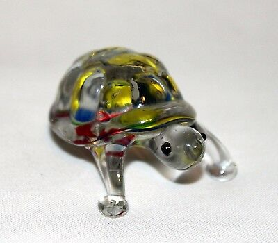 """Hand Blown Crafted Glass Turtle Tortoise Figurine Multicolor 2 1/4"""""""