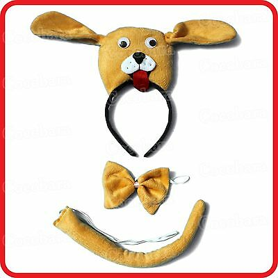 Dog Puppy Headband With Ears+Bow Tie+Tail-3Pc Dress Up Set-Costume-Party-2