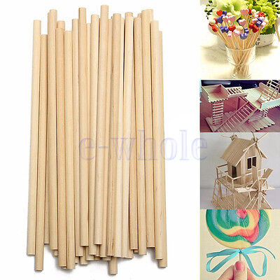 100pcs 150mm Round Wooden Lollipop Lolly Sticks Cake Dowel For DIY Food Craft BE