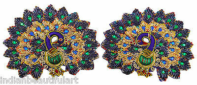 Multicolor Appliques Peacock Design Crafting Apparel Dress Patch For 1 Pair