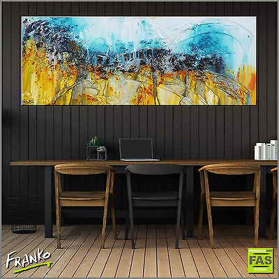 Original Abstract Painting Textured Blue Yellow 160cm x 60cm Franko Australia