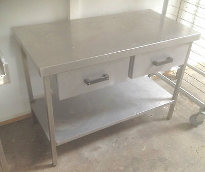 Stainless steel prep table work bench with 2 draws  £200 + vat