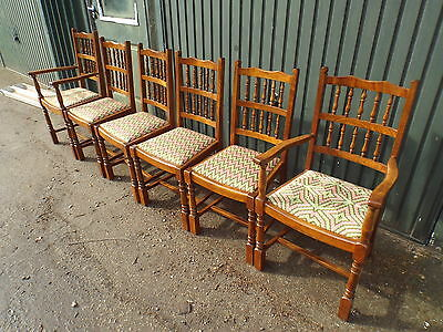 Quality Set of Six Solid Oak Dining Chairs ref56
