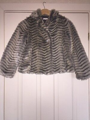 marks and spencer Girls Grey Faux Fur Jacket Age 9-10 RRP £45