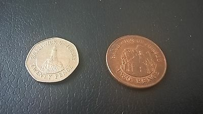 Balliwick Of Jersey - Good Collectable 20P (2009) & 2P (1992) Coins.