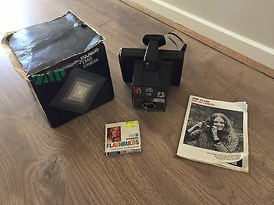 Vintage 1970s Polaroid Zip Land Camera With Flash Box And Instructions