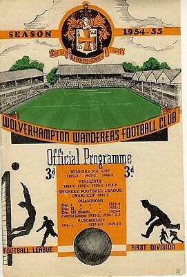 FA CHARITY SHIELD PROGRAMME 1954: Wolves v West Brom