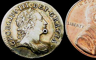 b5: 1763 George III Maundy Silver Threepence - Date of Berbice Slave Uprising