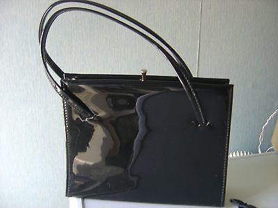 Vintage very  small Patent handbag chic / kelly style bag Costume Retro