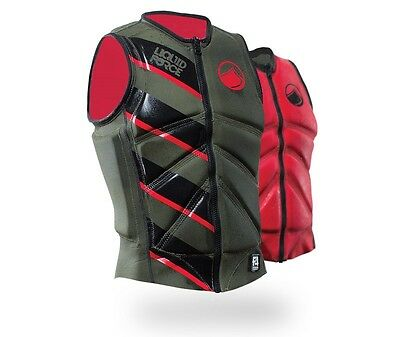2016 Liquid Force Z Cardigan Zip Wakeboard Impact Vest Green Red S | M | L 61347