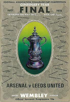 FA CUP FINAL PROGRAMME 1972: Leeds United v Arsenal