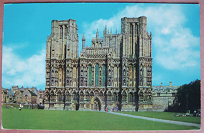"Postcard, Used Colour, "" The West Front, Wells Cathedral """