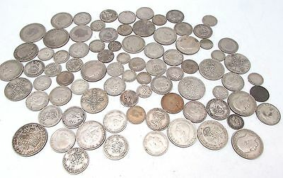 George V & George VI Mixed Denomination Pre 1947 Silver Circulated Coins- 490g