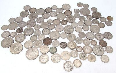 George V & George VI Mixed Denomination Pre 1947 Silver Circulated Coins- 500g