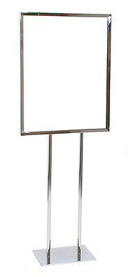 """1 Floor Standing Signage Holder Retail Store Display Fixture 22""""x28"""" Chrome New"""
