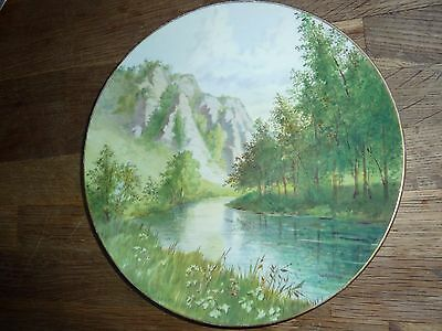 Vintage China 22.6Cm Diam Plate With H/p Mountain/river/tree Landscape -L.rivers