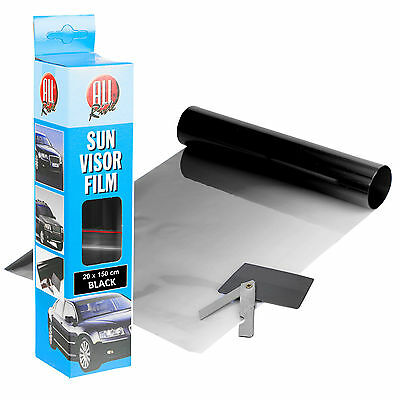 Sun Visor Film Black Tint 20 x 150cm Windscreen Car Window UV Blocker NEW