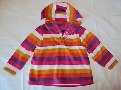 Girls colourful striped George fleece hoody 2-3 years fab condition