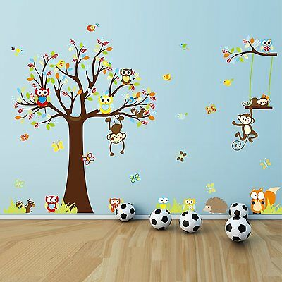Nursery decal Wall Sticker Removable Animal Tree Kids monkey  Art room Decor