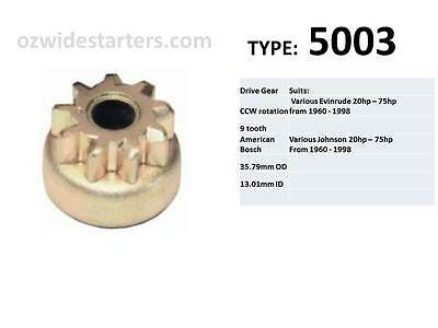 Starter drive gear (9 tooth) suit Evinrude / Johnson 20hp-75hp from 1960-1998