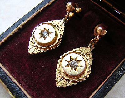 ANTIQUE VICTORIAN GOLD & OLD CUT DIAMOND EARRINGS in BOX - ETRUSCAN STYLE 1870