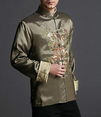 Stylish Green Kung Fu Men's Blazer Padded Jacket Dragon Shirt - 100% Silk #102