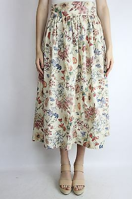 Vintage Retro 80's Cream Floral Long Midi Skirt Size (S-M)