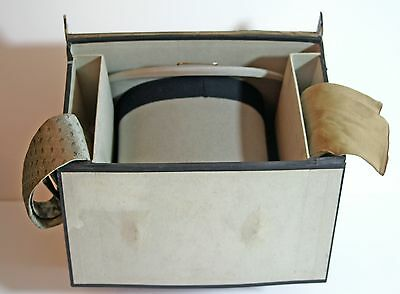 Vintage grey top hat, silk tie, chamois leather gloves in fitted carrying case