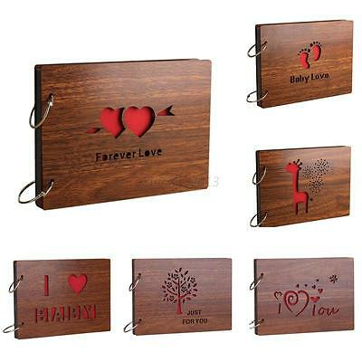 8 Inch DIY Retro Romance Pairs Love Hearts Memory Photo Book Wood Photo Album