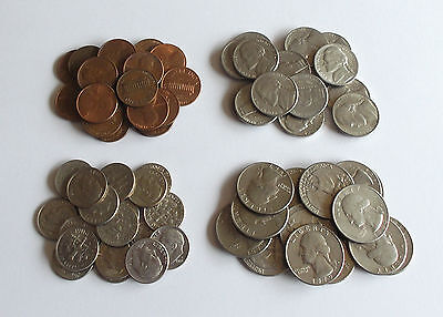 USA Job Lots of 1 cent, 5 cent, 10 cent & 25 cent coins * All Different Dates