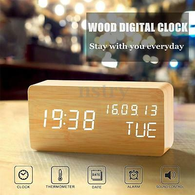 Novel Modern Wooden Digital LED Display Alarm Clock Thermometer Home Desk Decor