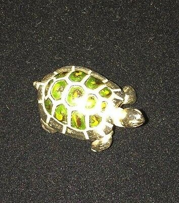 Saturno Enameled Sterling Silver Tortoise / Turtle. 3 Cm Long.