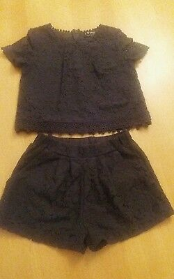 girls NEXT navy lace set top shorts age size 4 years outfit party dress