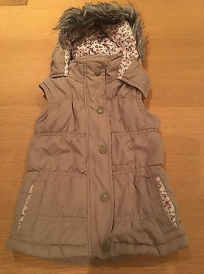 Girl's Gilet Body Warmer - Stone Colour With Floral Lining - 2-3 Years