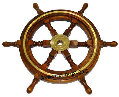 "Antique Wooden Ship Wheel 18"" Vintage Pirate Home Decorative Item"