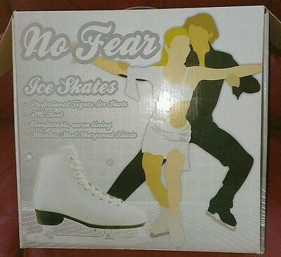 New No Fear Ladies White Professional Figure Ice Skates Size 7 Cost £49.99