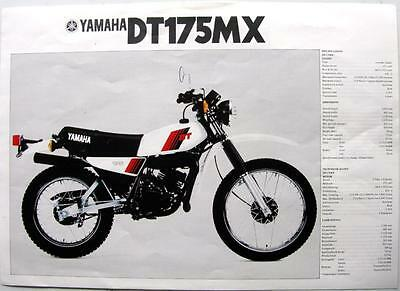 YAMAHA DT175MX/ DT250MX Motorcycle Sales Sheet 1981 #LIT-3MC-0107508-81/55.9x18