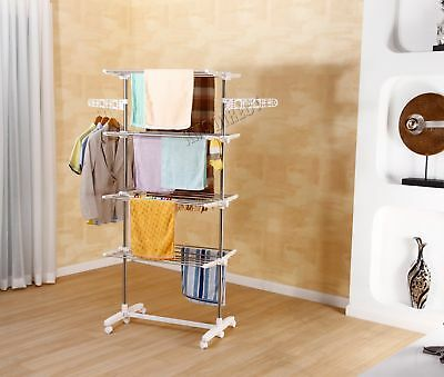 FoxHunter Foldable 4 Layer Clothes Airer Hanger Dryer Stand Rack Indoor FA02 New
