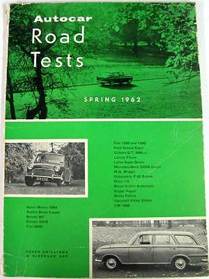 Autocar Road Tests Spring 1962 ASTON MARTIN, FIAT, LOTUS, ROVER, SINGER, VW etc
