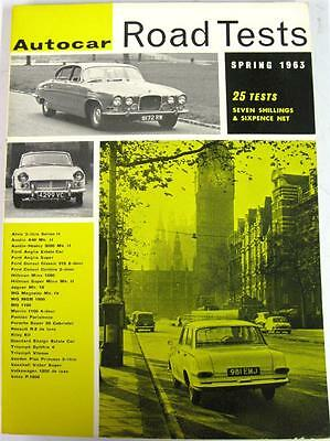 Autocar Road Tests Spring 1963 FORD, AUSTIN, HEALEY, MG, HILLMAN, TRIUMPH etc