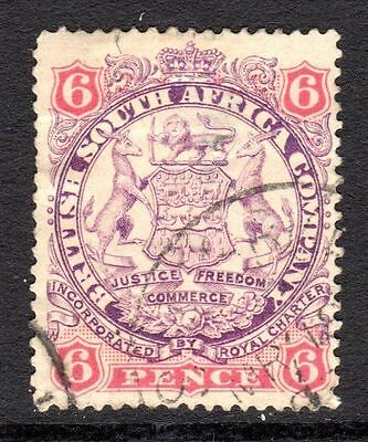 Rhodesia 1896-97  6d Mauve & Pink SG33 Used Cat £25