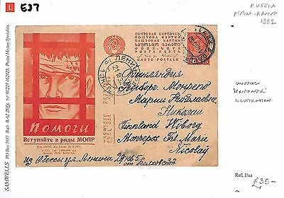 E37 1932 RUSSIA *Political Prisoner* Illustrated Postal Stationery Card -Finland